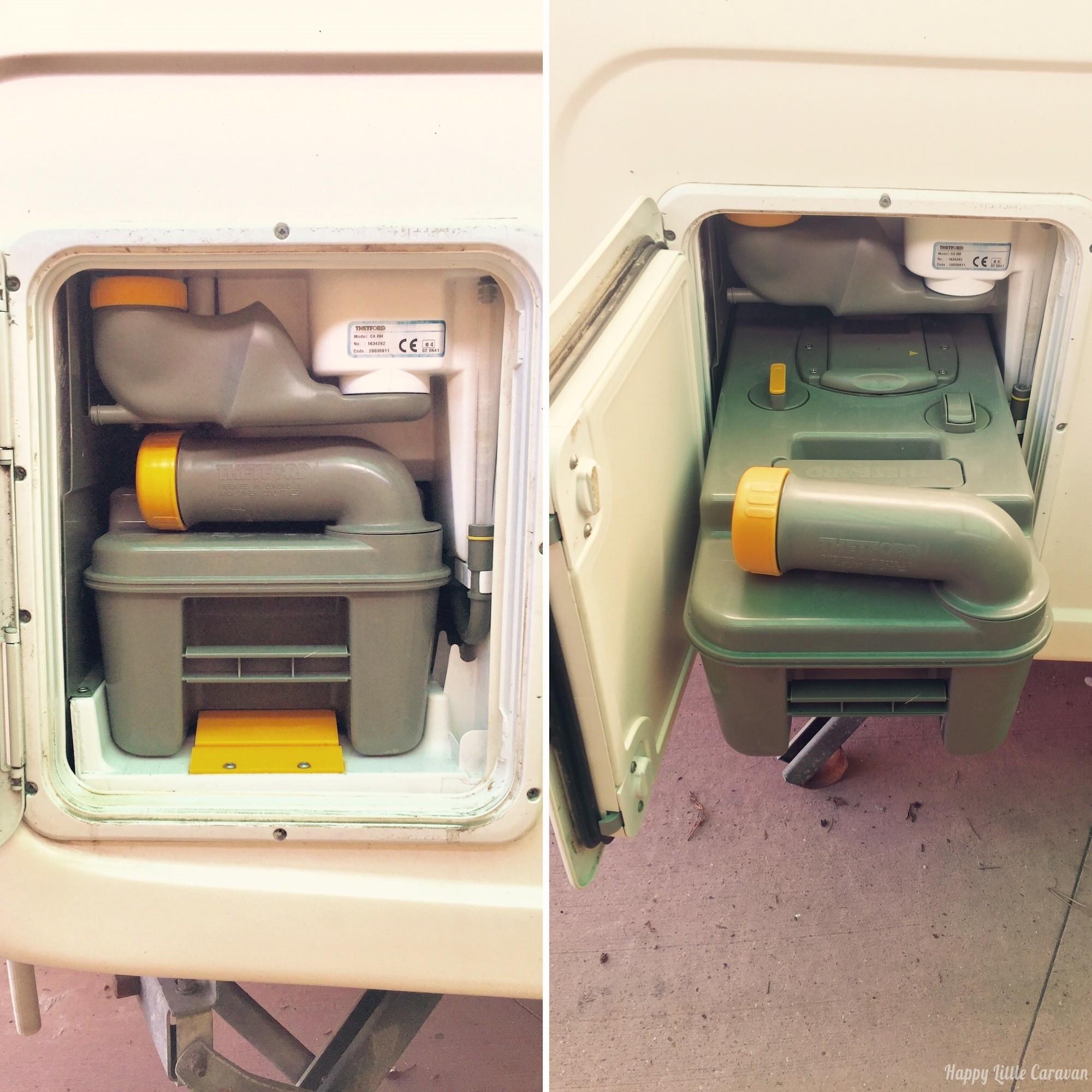 tanica del wc chimico integrata in una roulotte bagno ela